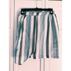 BCBG Asymmetrical Blue & White Striped Skirt